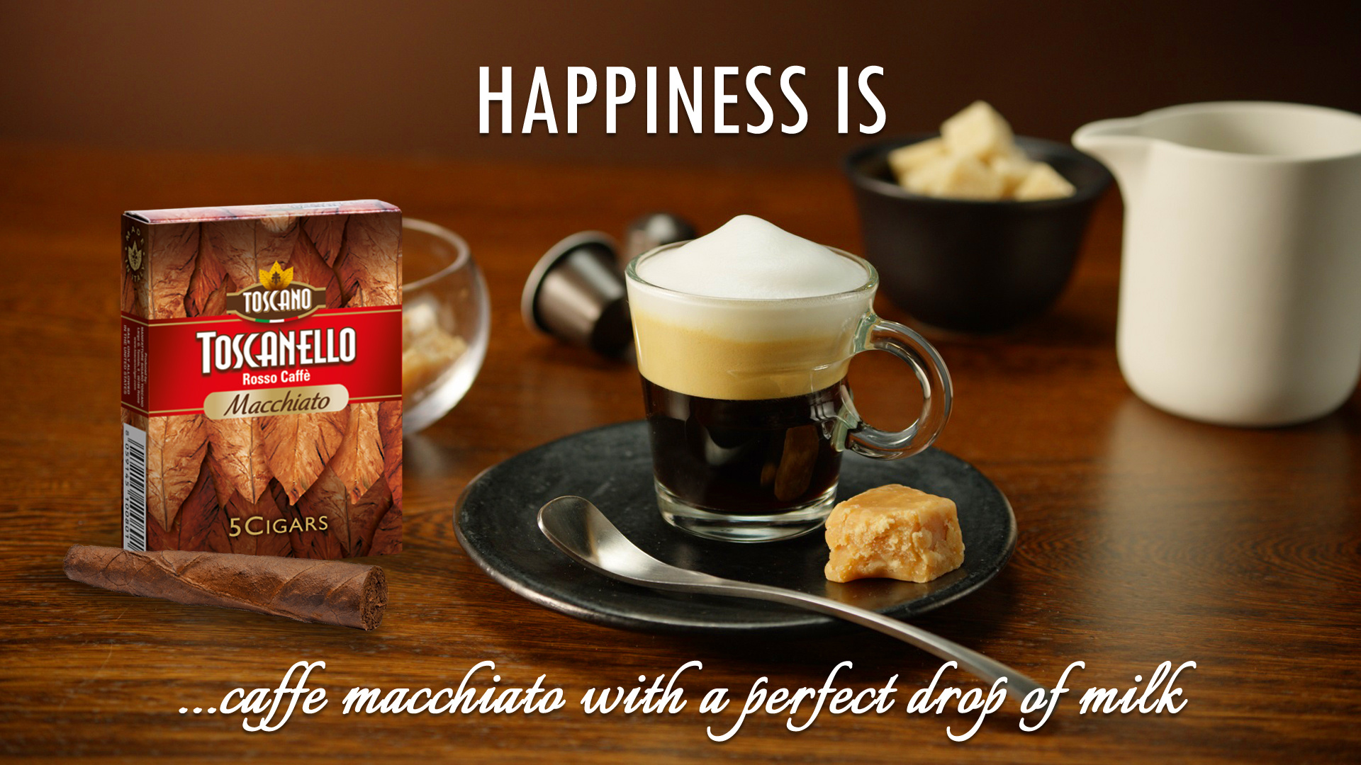Happiness is Caffe Macchiato with a perfect drop of milk!